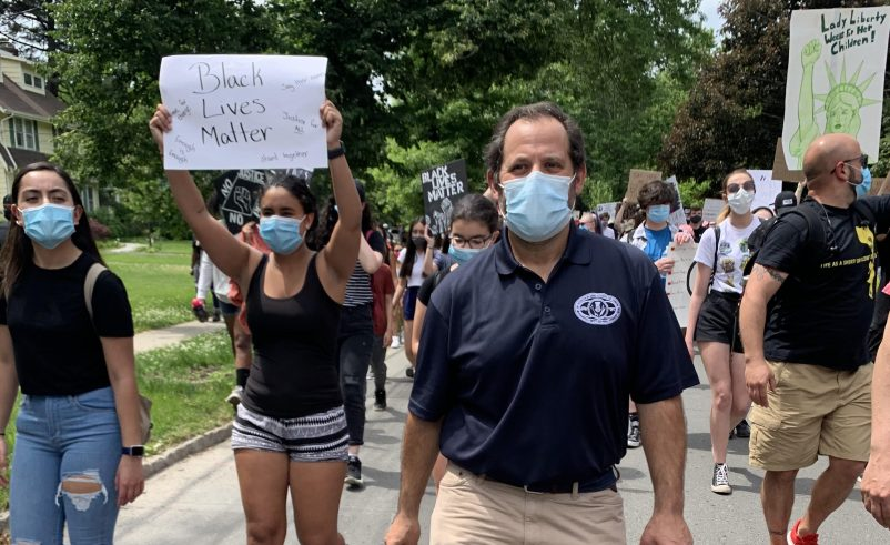 Deputy Mayor Josh Losardo walking in the Scotch Plains Black Lives Matter peaceful march.